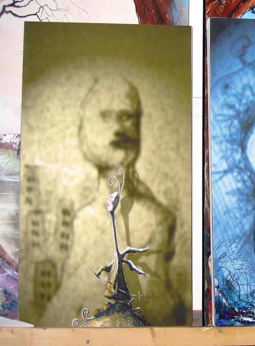 """En skisse til """"Nordmann"""" (med ski på bena og englevinger), digitaltrykk/olje"""